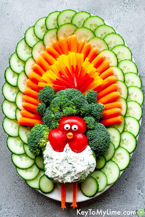 Turkey Veggie Tray With Cheese Ball Dip Key To My Lime